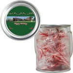 Clear Plastic Paint Can Pail with Mints, Cookies, Candy, Gumballs, or Candy Canes Custom Imprinted
