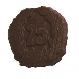 Custom Printed 0.72 Oz. Chocolate 25th Round Crest