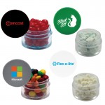 Twist Top Container Filled With Signature Peppermints, Cinnamon Red Hots, or Chocolate Littles Custom Printed