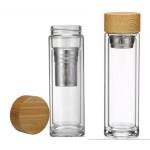 Logo Branded Glass Tea Bottle with Bamboo Lid 15 oz
