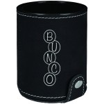 Custom Imprinted Black/Silver Leatherette Dice Cup w/ 5 Dice