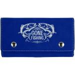 Custom Imprinted Blue/Silver 2 Card Leatherette w/5 Dice Set
