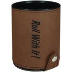 Custom Imprinted Dark Brown Leatherette Dice Cup w/ 5 Dice