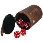 Custom Printed Rustic/Gold Leatherette Dice Cup w/ 5 Dice