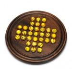 "12"" Dark Walnut Stained Solitaire w/Yellow Stripe Marbles Logo Branded"