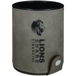 Gray Leatherette Dice Cup W/5 Die Custom Imprinted