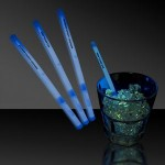 "Personalized 5"" Single Color Blue Glow Swizzle Stick"