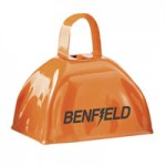 "Logo Branded 3"" Orange Colored Metal Cowbells"