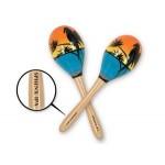 "Custom Imprinted 8"" Wooden Tropical Fun Party Maraca's w/ Custom Direct Pad Printed Imprint on Handle"