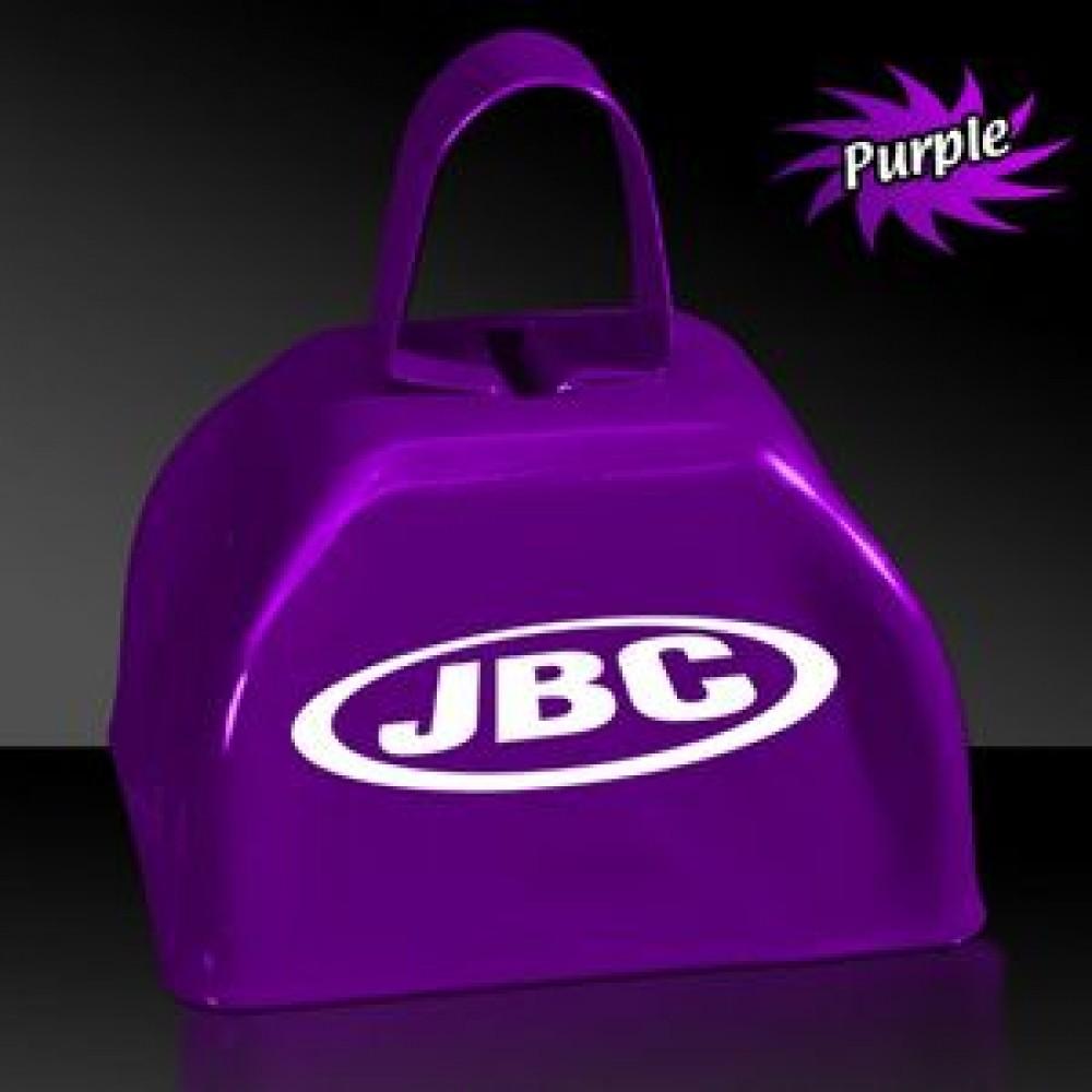 """3"""" Purple Metal Cowbell Logo Branded"""