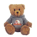 "Logo Printed 12"" Tan Peter Bear Stuffed Animal w/Hooded Shirt & Full Color Imprint"