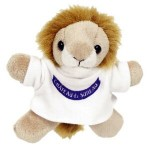 "3"" Lion Magnet Stuffed Animal w/T-Shirt & One Color Imprint Logo Printed"