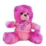 "8"" Berry Bear with shirt and one color imprint Logo Printed"