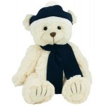 """Logo Printed 12"""" Bear with Navy Blue Winter Hat and Scarf"""