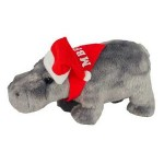 "Logo Printed 8"" Howard Hippo with Santa hat and imprinted bandana"