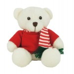 "6"" White Sugar Bear with Red Shirt & Striped Scarf Custom Imprinted"