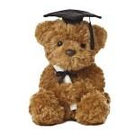 "9"" Wagner Grad Bear- Black Cap Logo Printed"