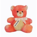 """Custom Personalized 8"""" Peach Bear with ribbon and one color imprint"""