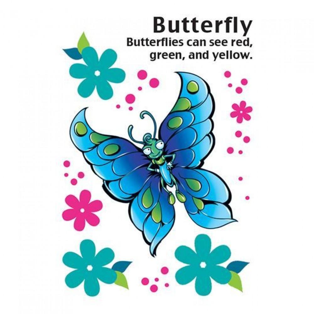 Cartoon Butterfly Temporary Tattoo Logo Printed
