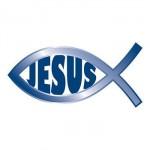 Blue Jesus Fish Temporary Tattoo Logo Printed