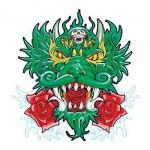 Custom Imprinted Green Chinese Dragon Temporary Tattoo