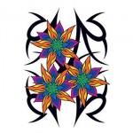 Vibrant Tribal Flowers Temporary Tattoo Logo Printed