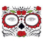 Custom Imprinted Glitter Day of the Dead Red Rose Face
