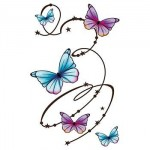 Butterfly Swirls Large Temporary Tattoo Custom Personalized