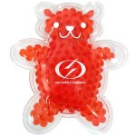 Logo Branded Red Teddy Bear Hot/ Cold Pack with Gel Beads