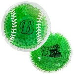 Custom Imprinted Green Baseball Hot/ Cold Pack with Gel Beads