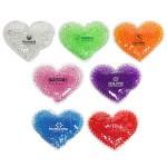 Custom Imprinted Large Heart Aqua Pearls Hot/Cold Pack