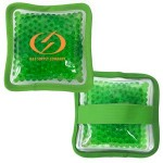 Logo Branded Cloth Square Green Hot/ Cold Pack with Gel Beads