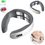 Logo Branded 4 Heads Rechargeable Electric Pulse Neck Massager With Heat Therapy