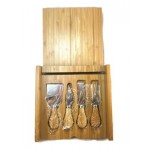 """Bamboo Cheese Set with 4 Tools 8"""" x 8"""" Logo Branded"""