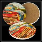 Custom Printed Round Absorbent Stone Coaster - Full Bleed Custom Imprinted