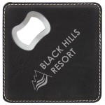 Leatherette Bottle Opener Coaster, Black/Silver Custom Printed