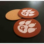 """3.5"""" Printed Promotional Leatherette Coasters with Cork Backing - USA-Made Custom Printed"""