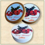 4 Round Absorbent Stone Coaster Gift Box Set with Printed Label - Basic Print Logo Branded