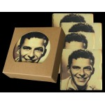 Custom Imprinted Set of 4 Square Layered Edge Absorbent Stone Coasters in Craft Window Box