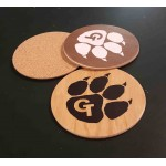 "Logo Branded 3.5"" Printed Promotional Thick Veneer Coasters with Cork Backing - USA-Made"