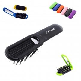 Custom Printed Folding Hair Brush With Mirror
