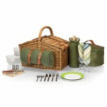 Somerset Double Lid Deluxe Picnic Basket w/Service for 2 Logo Branded