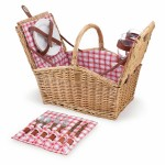 Piccadilly Double Lid Picnic Basket w/Service for Two Logo Branded