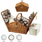 Logo Branded English Style Picnic Basket Set for 4