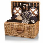 Logo Branded Windsor Luxury Picnic Basket w/Deluxe Service for Four