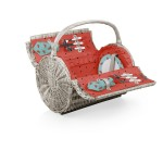 Custom Printed Barrel - Willow Basket w/Deluxe Picnic Service for Two