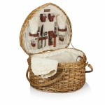Logo Branded Heart Picnic Basket - Willow Basket w/Deluxe Picnic Service For 2