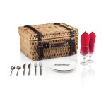 Logo Branded Champion Picnic Basket - Willow Basket w/Deluxe Picnic Service For 2