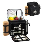 Custom Printed Picnic Set for 2 with Cooler, Coffee Service & Blanket