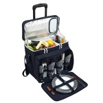 Picnic Set for 4 with Cooler on Wheels Logo Branded